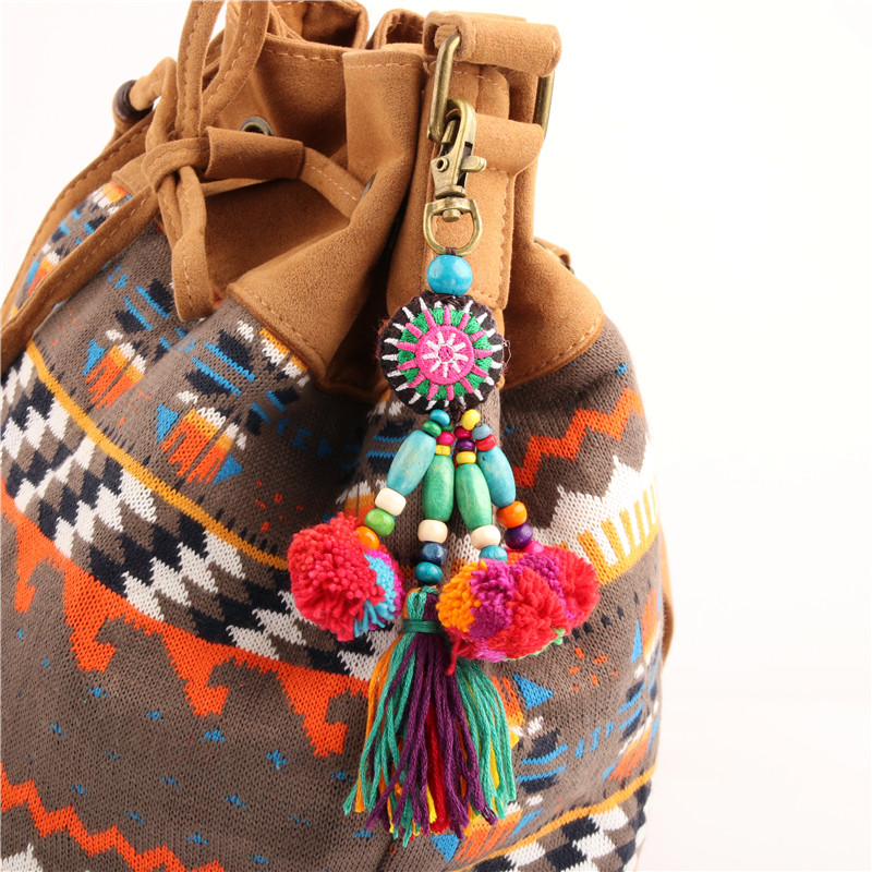 1pc Boho Style Flower Charms Wooden Beads With Pom Pom Keychain Colorful Tassel Key Ring Pendant Jewelry