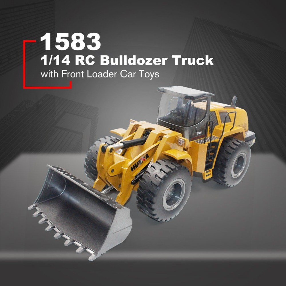 HUINA TOYS 1583 1/14 10CH Alloy RC Bulldozer Truck With Front Loader Truck Engineering Construction Car Vehicle Toy RTR