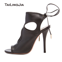 Retro High Heel Peep Toe Ankle Lace UP Woman Summer Boots Slingback Ladies Black Sexy Sandals Plus Size Free Shipping
