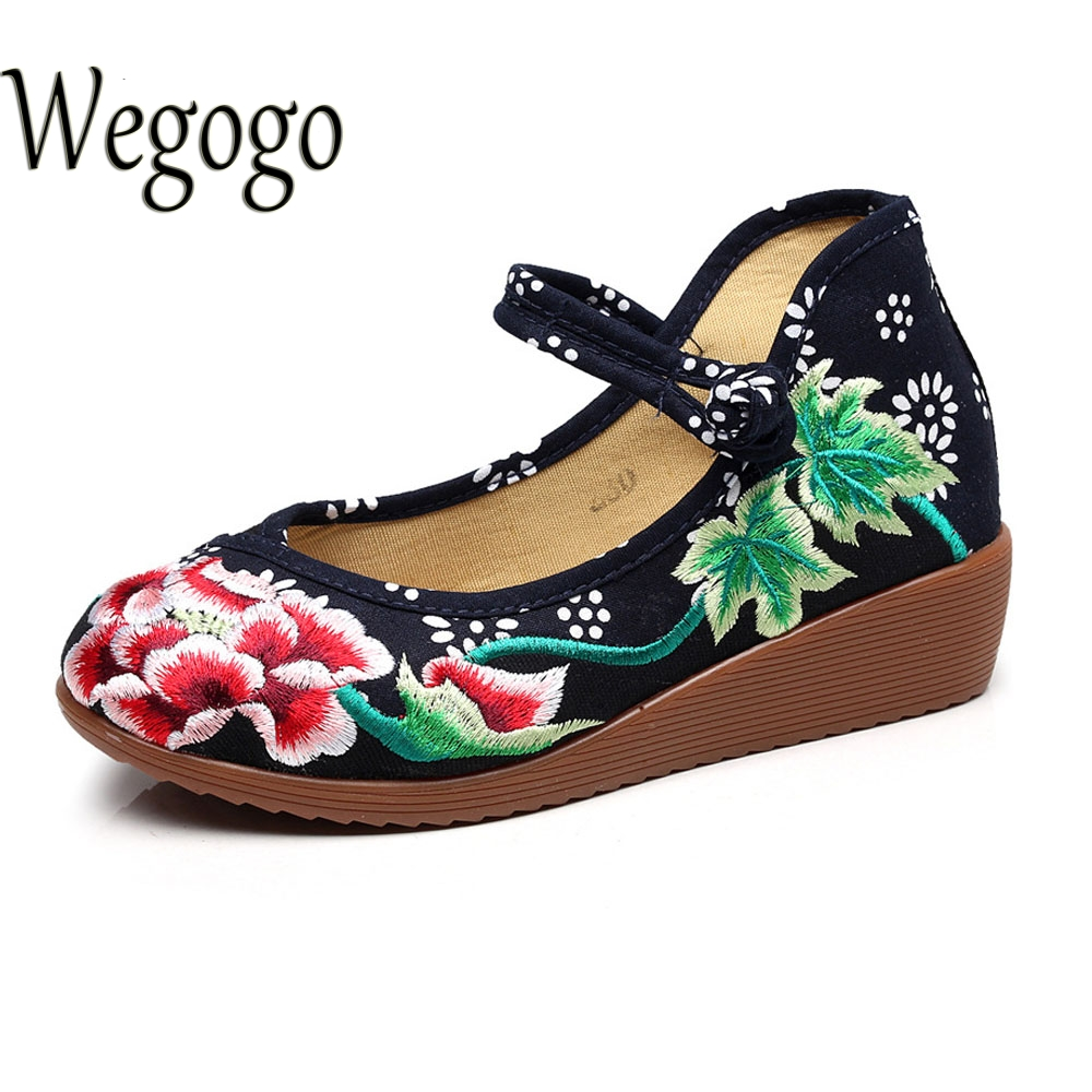 Wegogo Vintage Women Pumps Ethnic Canvas Embroidery Floral Buckle Wedge Sole Mary Jane Casual Single Dance Ballet Shoes Woman peacock embroidery women shoes old peking mary jane flat heel denim flats soft sole women dance casual shoes height increase