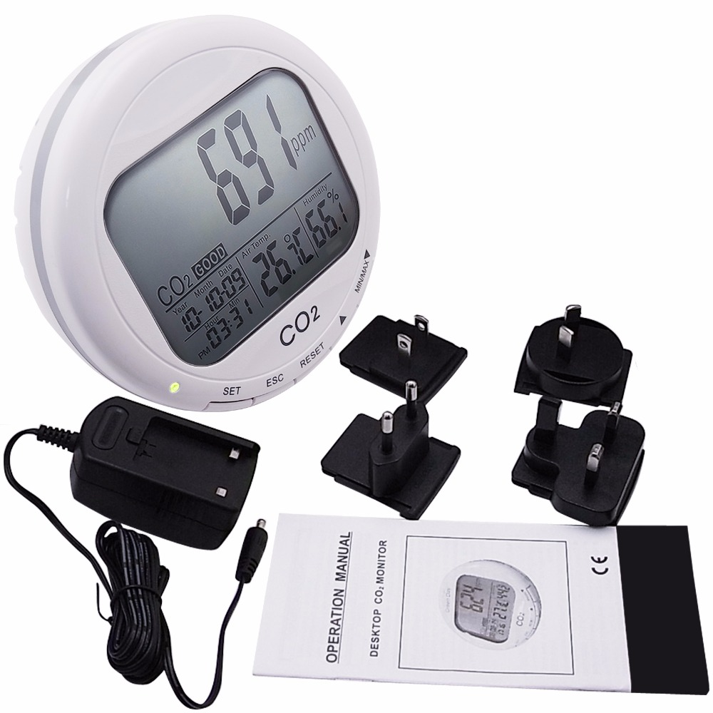 Portable Digital 3-in1 Round Desktop Indoor Air Quality Temperature Humidity RH Carbon Dioxide CO2 Monitor Meter Clock 0~2000ppm