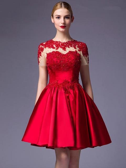 Aliexpress.com : Buy Elegant Red Short Prom Dresses 2017 Appliques ...