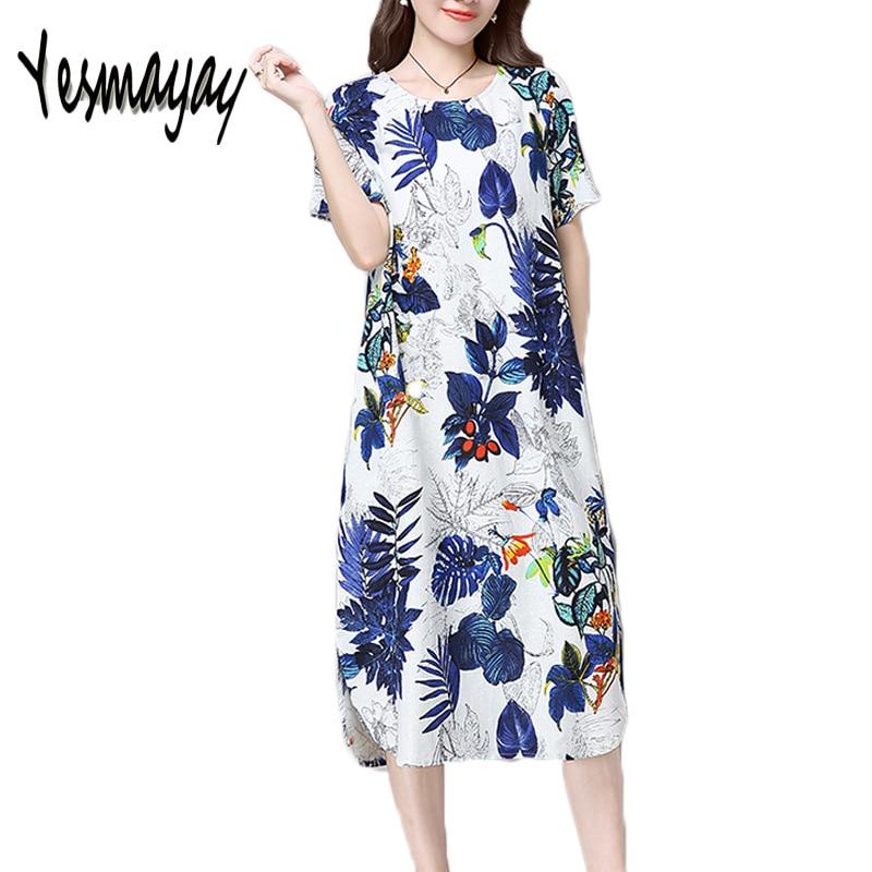 Women's 5XL Plus Size Summer Vintage Floral Dress Cotton Linen Casual Short Sleeve 2018 Women Maxi Long Dress Vestidos Dresses
