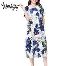 98f275570fcaf Kadın 5XL Artı Boyutu Yaz Vintage Çiçekli Elbise Pamuk Keten Rahat Kısa  Kollu 2018 Kadın Maxi uzun elbise Vestidos Elbiseler