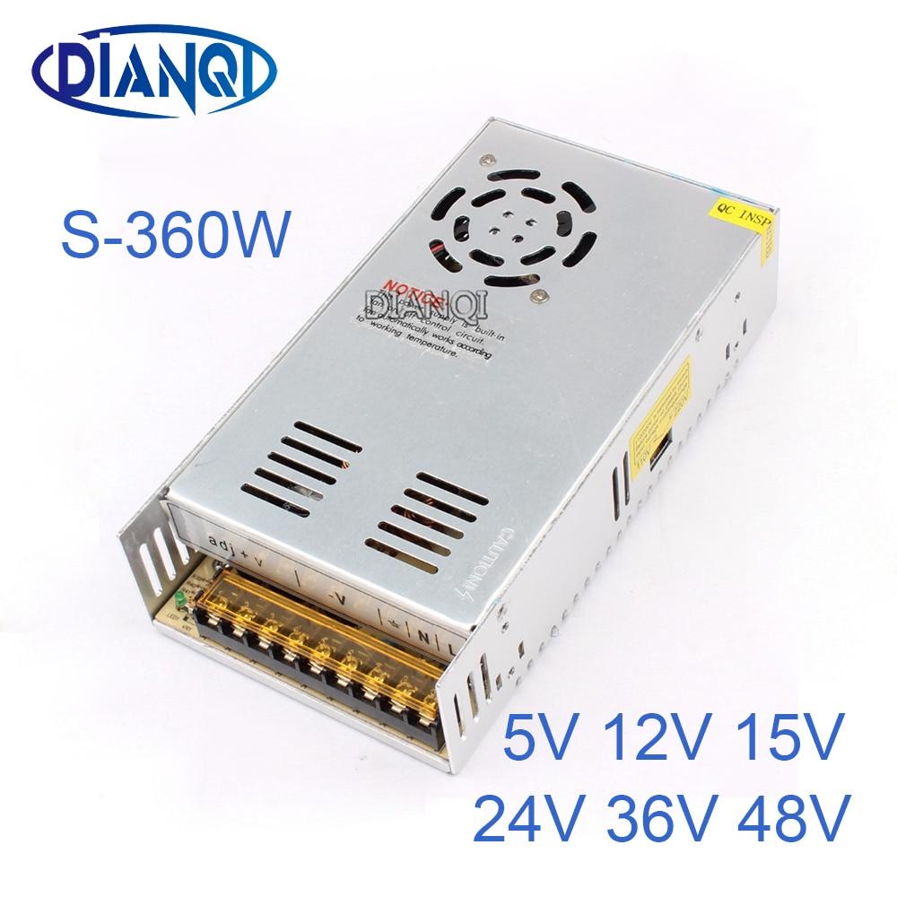 DIANQI 15V Switching Power Supply 360w 5V 12V ac to dc converter transform for LED strip 24V 36V 48V S-360 dianqi mdr 100 12v 5v 15v 24v 36v 48v 100w din rail power supply ac dc driver transformers for led strip light 110v 220v