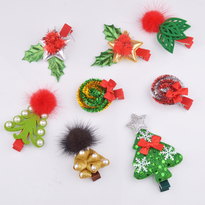 New Fashion Christmas Hair Clips for Girls Santa Claus Xmas Hairpins Barrettes Gifts for Kids Children Hair Accessories novelty beard santa claus beanies men s women s funny christmas crocheted hats xmas party mask handmade winter warm gorros gifts