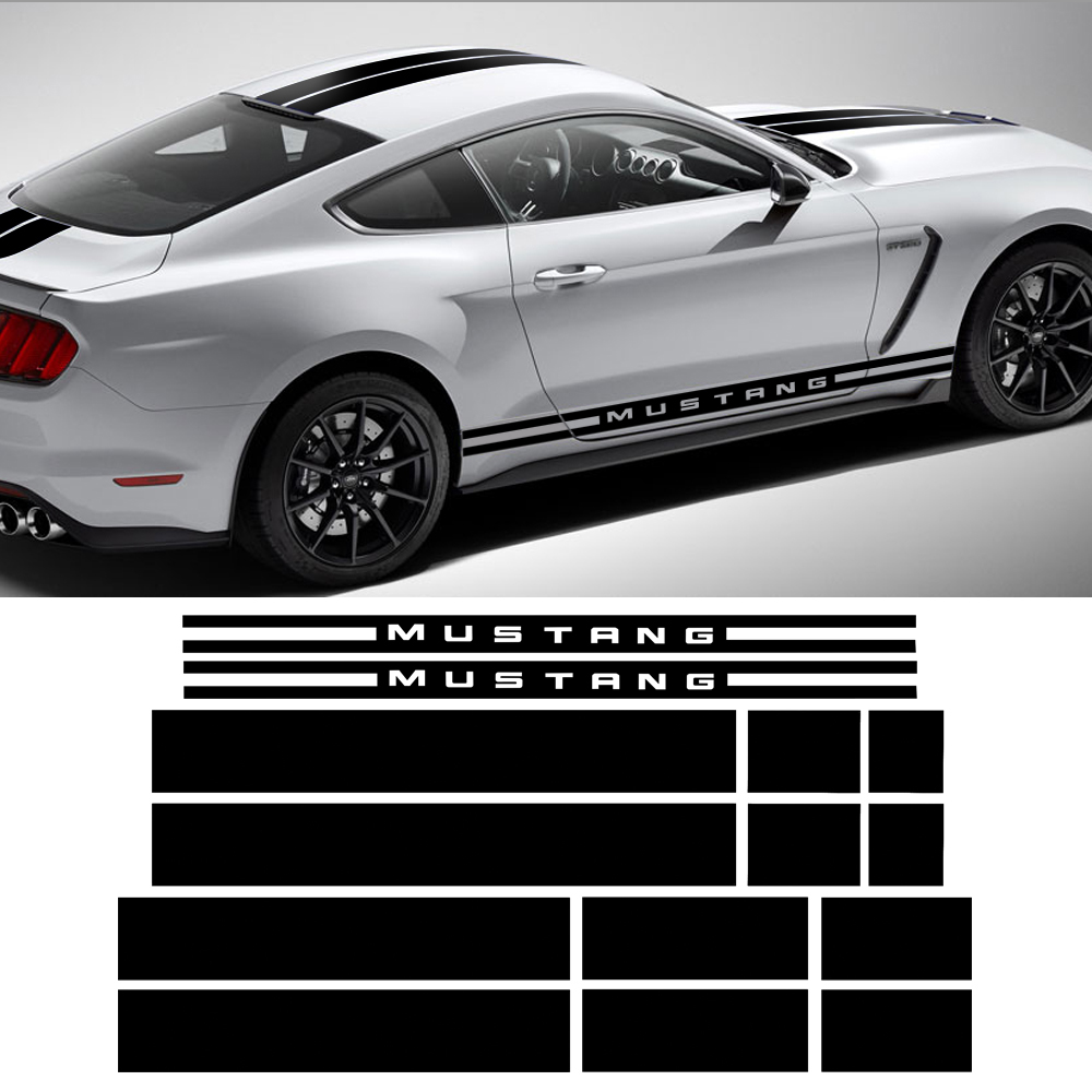 Car Styling Porta Side Stripes Anteriore Paraurti Posteriore Cappuccio Del Tetto del Tronco Kit Corpo Graphic Decal Adesivi Per Auto per Ford Mustang 2015-2017Car Styling Porta Side Stripes Anteriore Paraurti Posteriore Cappuccio Del Tetto del Tronco Kit Corpo Graphic Decal Adesivi Per Auto per Ford Mustang 2015-2017