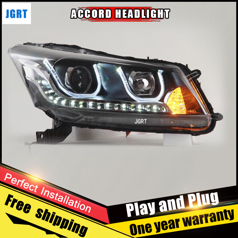 Car Style LED headlights for Honda Accord 2010-2012 for Accord head lamp LED DRL Lens Double Beam H7 HID Xenon bi xenon lens car styling led head lamp for honda cr v 2012 2014 headlight assembly drl bi xenon lens hid automobile accessorie