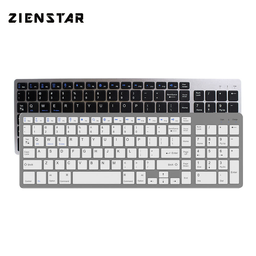 Zienstar Ultra Thin Standard Bluetooth Keyboard for IPAD,MACBOOK,LAPTOP, Computer PC and Tablet,Rechargeable Lithium Battery zienstar ultra slim wireless bluetooth keyboard for ipad macbook laptop computer pc and android tablet us english layout