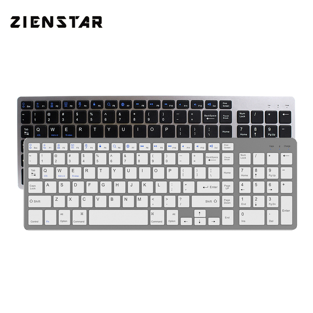 Zienstar Ultra Thin Standard Bluetooth Keyboard for IPAD,MACBOOK,LAPTOP,Computer PC and Tablet,Rechargeable Lithium Battery