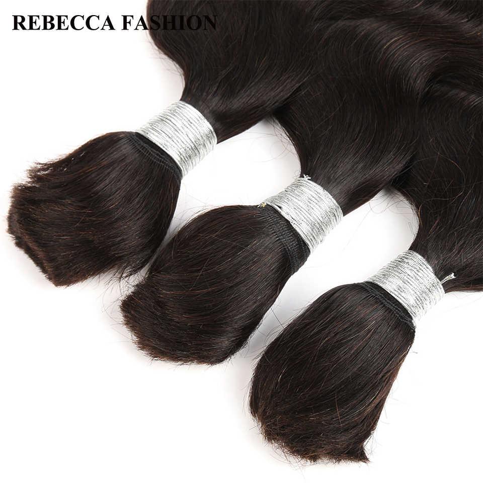 Extensiones de cabello humano de la onda del cuerpo indio de Rebeca 10-30 pulgadas pelo Remy a granel sin trama 1 Pc Color Natural puede ser teñido