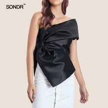SONDR Korean Off Shoulder Sexy Solid Women Blouse Sleeveless Irregular Shirt Female Spring 2019 Fashion Clothes New