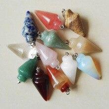 Pendule en pierre naturelle 50pcs mélangé à cône circulaire, pendentif à breloques, pour la fabrication de bijoux, accessoires, livraison gratuite