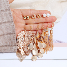 L&H 6Pairs/Set Luxury Vintage Drop Earrings Set Long Gold Color Chain For Women Water Drop/Leaves/Pearl Dangle