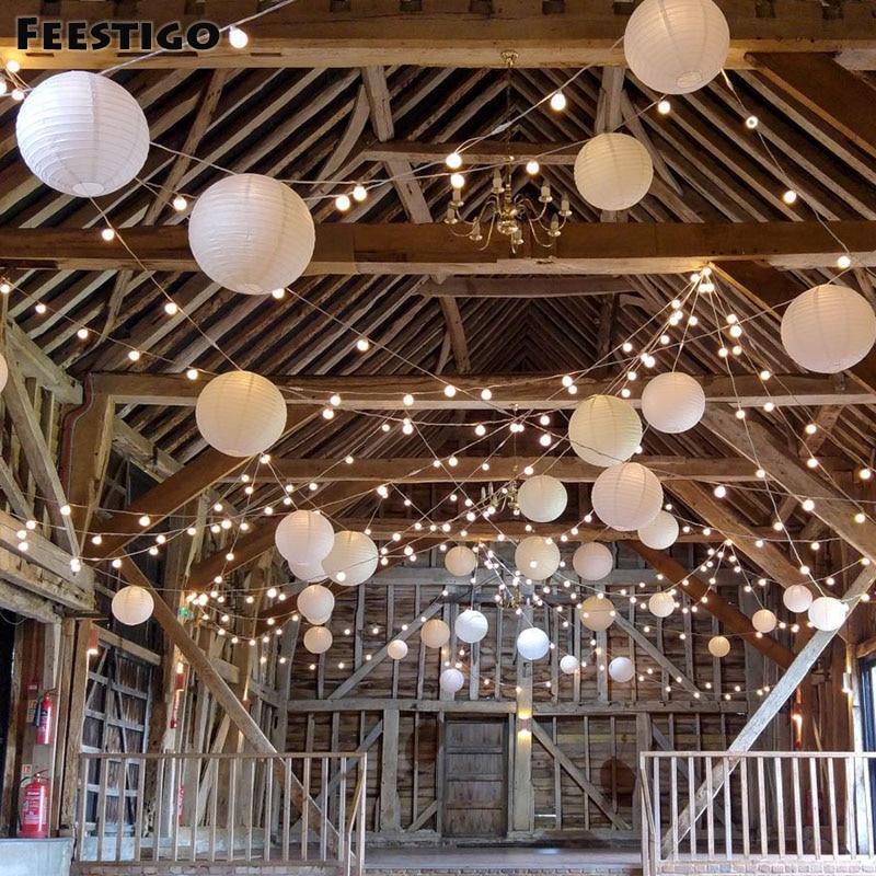 15PCS Mixed 8-12inch White Paper Round Sky Hanging Lanterns Bridal Wedding Party Dcorations Eventy Celebration DIY Kits Sets