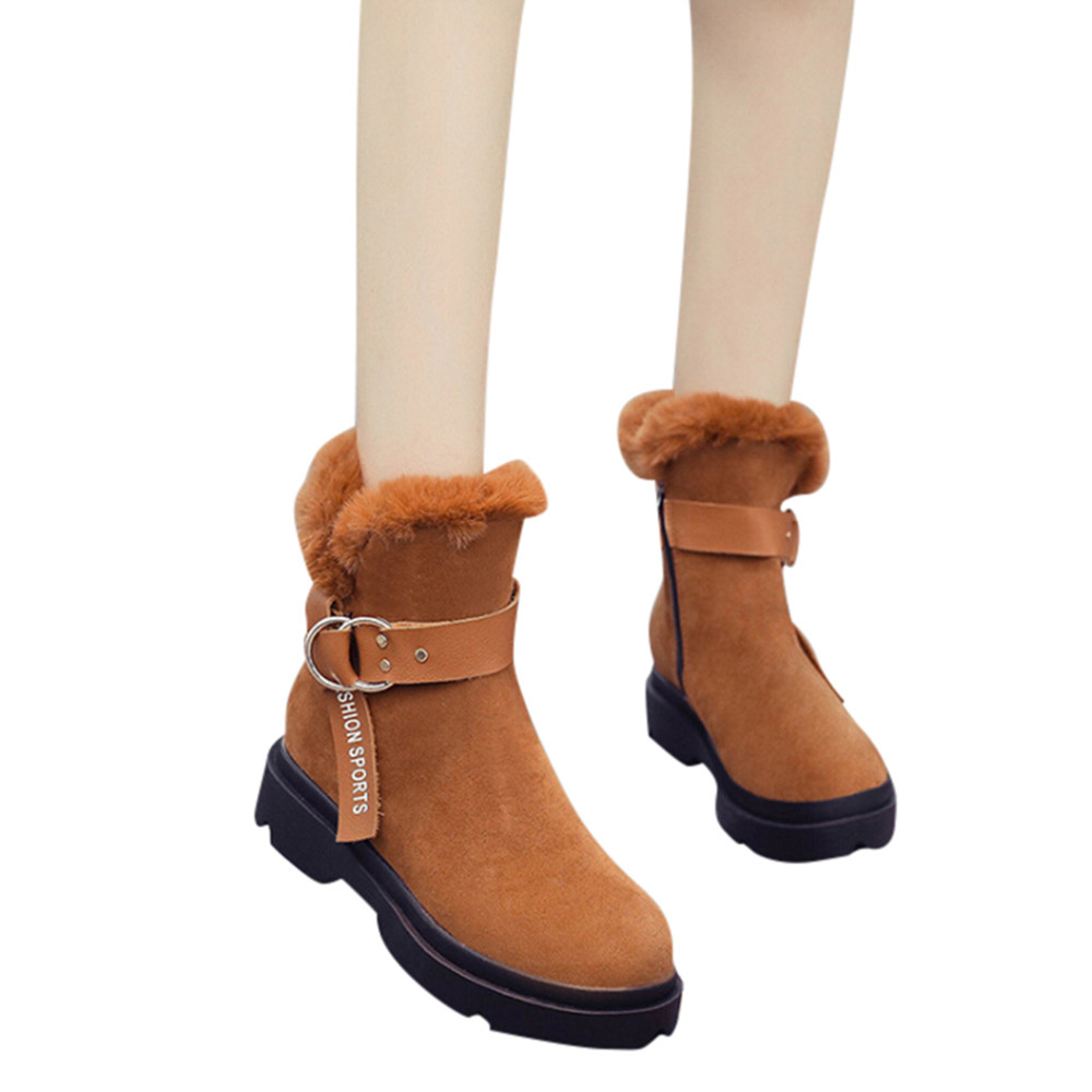Fashion Women Boots Keep Warm Short Plush Snow Boots Round Toe Flat Shoes Buckle-Strap Suede Winter Lady Shoes chaussures femme fashion keep warm winter women boots snow boots 2017 buckle cotton boots women boots shoes