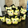 "Anime Cartoon Monsters Pichu Plush Brinquedos 4 ""10 cm Macio Stuffed Dolls com Anel 10 pçs/lote"