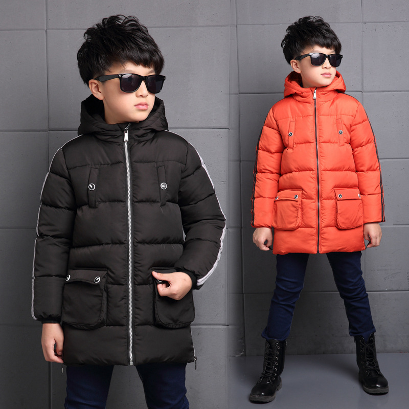 Big Kids Boys Cotton Long Coat Thickening Cotton Padded Jackets 2019 Autumn Winter 6-13 Years