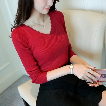 new Fashion women long sleeve v-neck thin sweater female all-match slim basic knitted shirt girls solid color pullover clothing