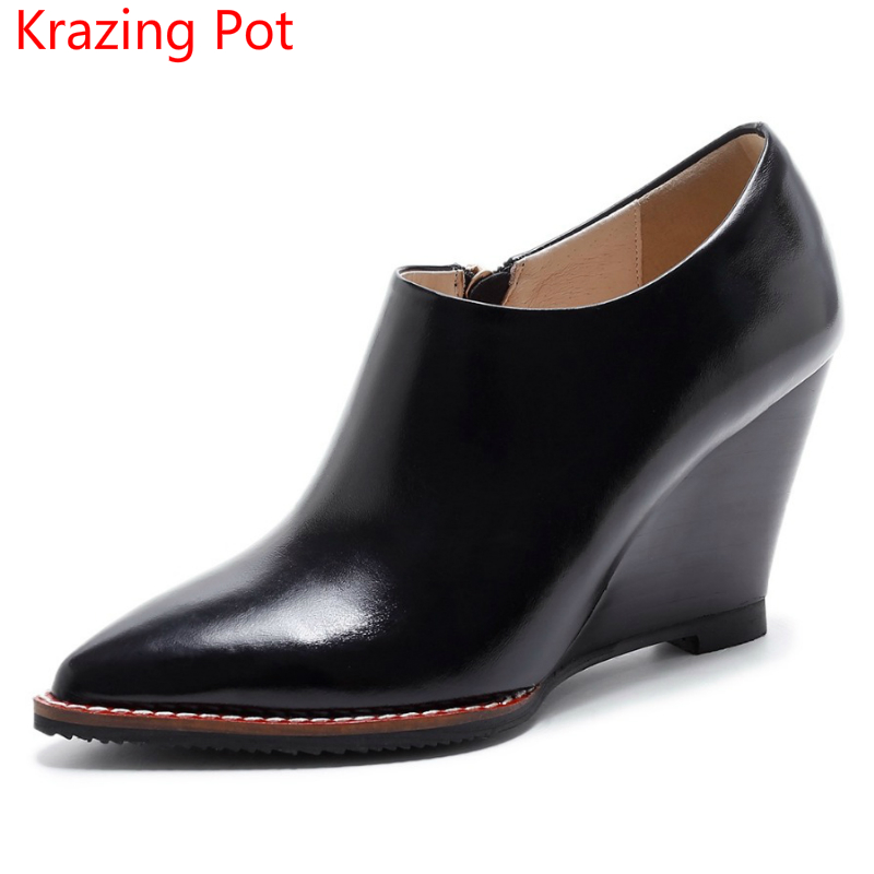 2018 New Arrival Slip on Genuine Leather Brand Winter Shoes Wedges High Heels Women Pumps Pointed Toe Zipper Autumn Shoes L22 nayiduyun women genuine leather wedge high heel pumps platform creepers round toe slip on casual shoes boots wedge sneakers
