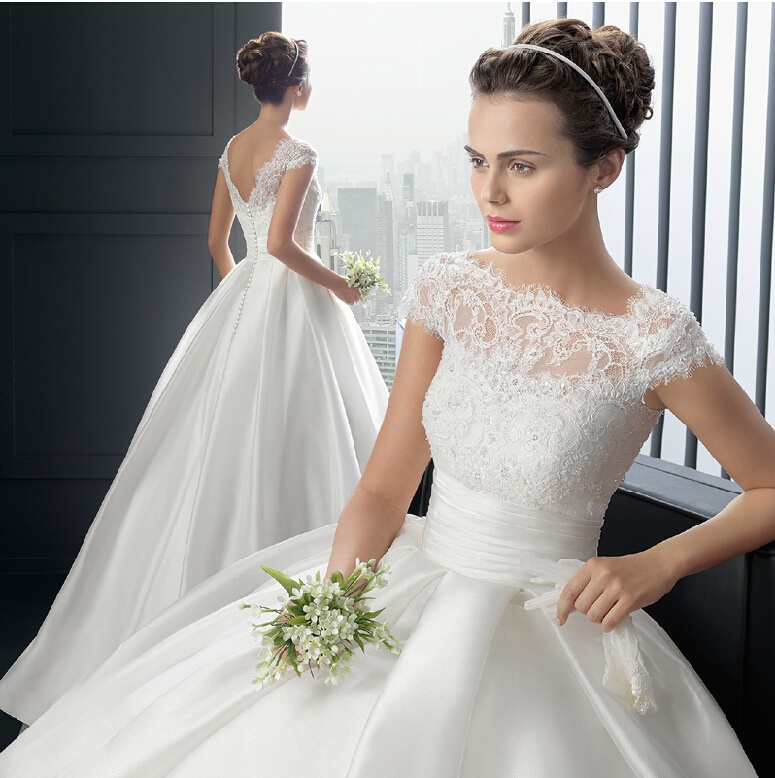 V New Princess Style Cap Sleeve Beaded Lace Long Ball Gown Wedding ...