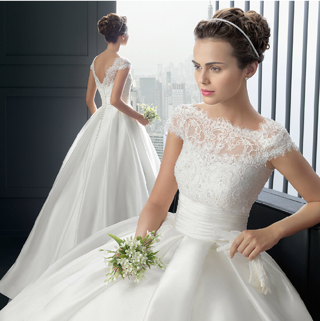 Princess Style Wedding Gowns: V New Princess Style Cap Sleeve Beaded Lace Long Ball Gown
