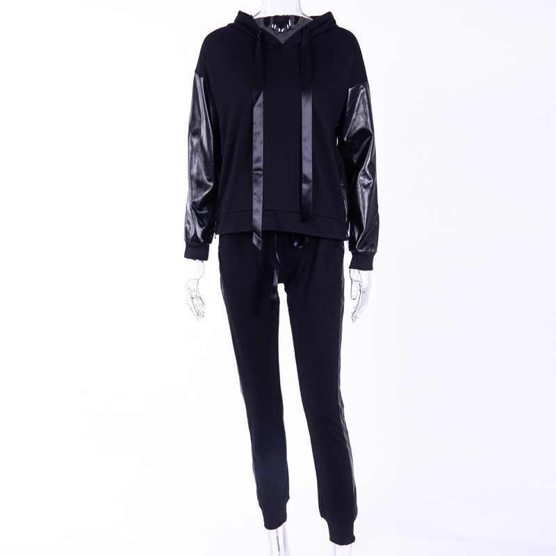 מזדמן סווטשירט נים ארוך מכנסיים 2pcs קוריאני סגנון ספורט חליפות נים אימונית לנשים סט שתי חתיכה סט למעלה מכנסיים