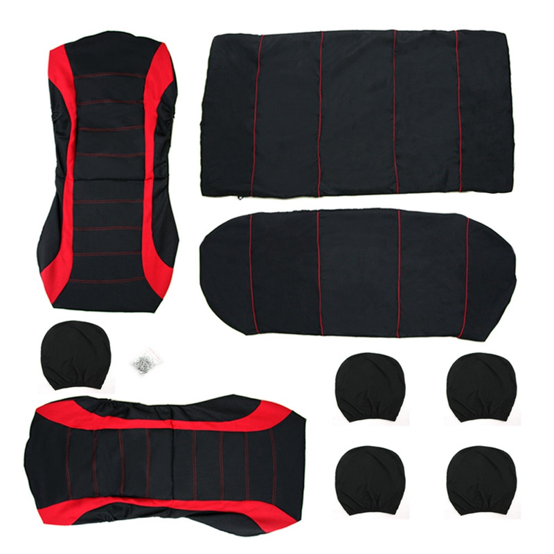 Image 5 - VODOOL 9Pcs/Set Polyester Car Seat Cover Universal Car Front Rear Seat Protector Covers Cushion Car Styling Interior Accessories-in Automobiles Seat Covers from Automobiles & Motorcycles