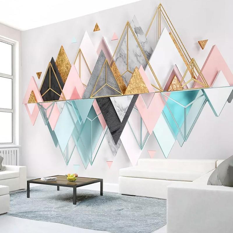 Custom Mural Wallpaper Roll 3D Stereoscopic Triangle Metal Glass Geometric Living Room TV Background Wall Murals Photo Wallpaper