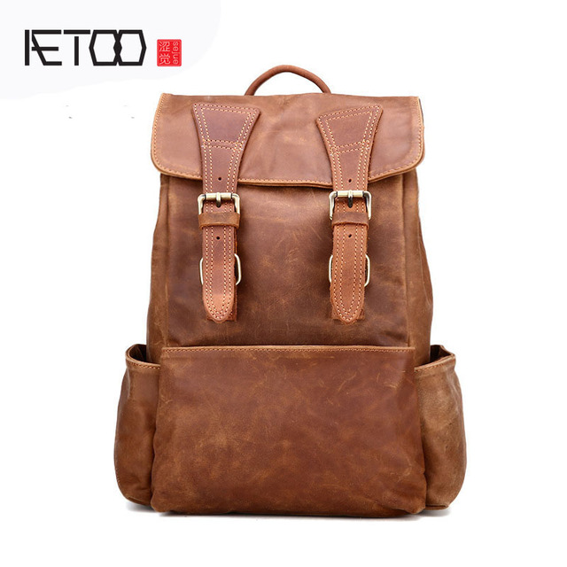 AETOO Europe and the United States trendy leather backpack fashion first  layer of leather shoulder bag retro leather 1575915bd5
