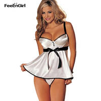 FeelinGirl White Silk Babydoll Harness Tempting Sleepwear Women Underwear Sexy Lingerie Sexy Hot Erotic Porno Sexy