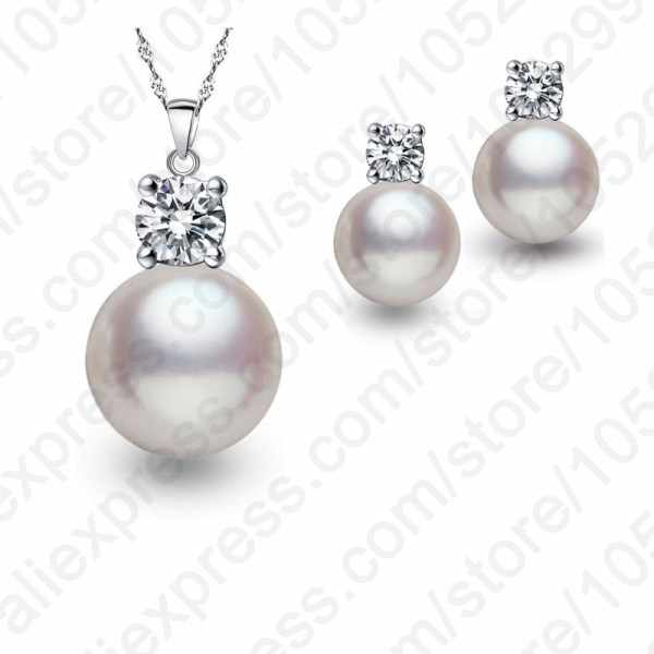 Wholesale Top Quality Wedding Jewelry Set Water Pearl Earrings Necklace 925 Sterling Silver Pendant Necklace Free Shipping