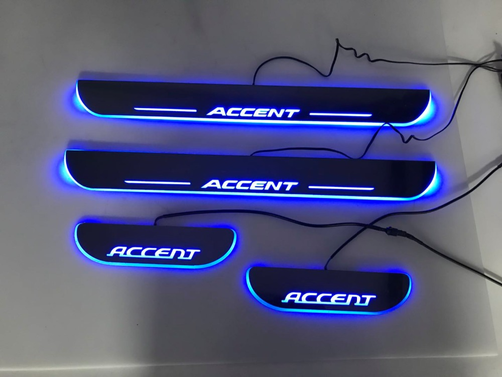 WOOBEST Waterproof Ultrathin Acrylic LED door sill for Hyundai accent, Led moving door scuff plate, Pathway light, 2pcs