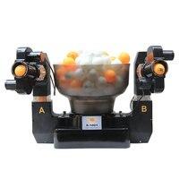 טניס רובוט כפול ראש אוטומטי ירי שולחן טניס מגישים מכונת תרגול מכונת למתחילים מתאים 40 + כדורי
