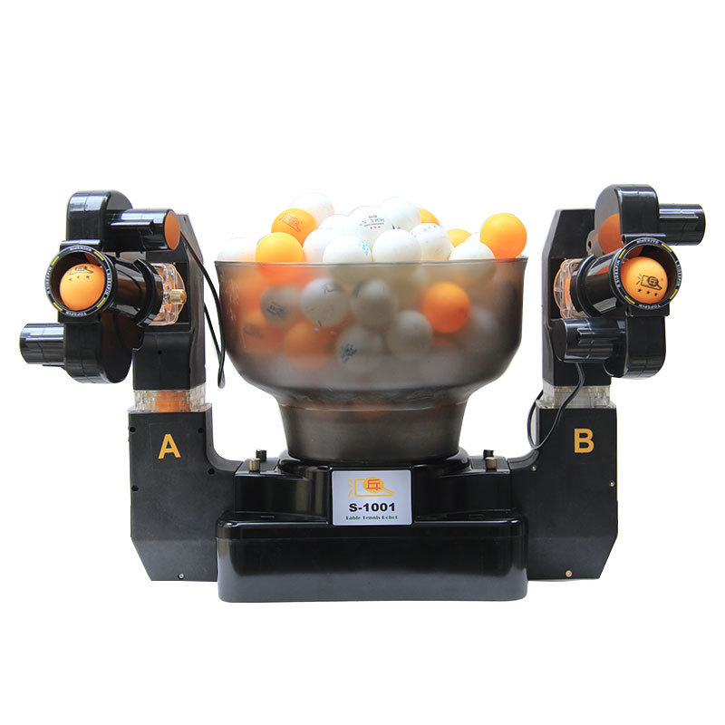 Robot de Tennis double tête tir automatique Tennis de Table servir Machine à pratiquer la machine pour les débutants adapté pour plus de 40 balles