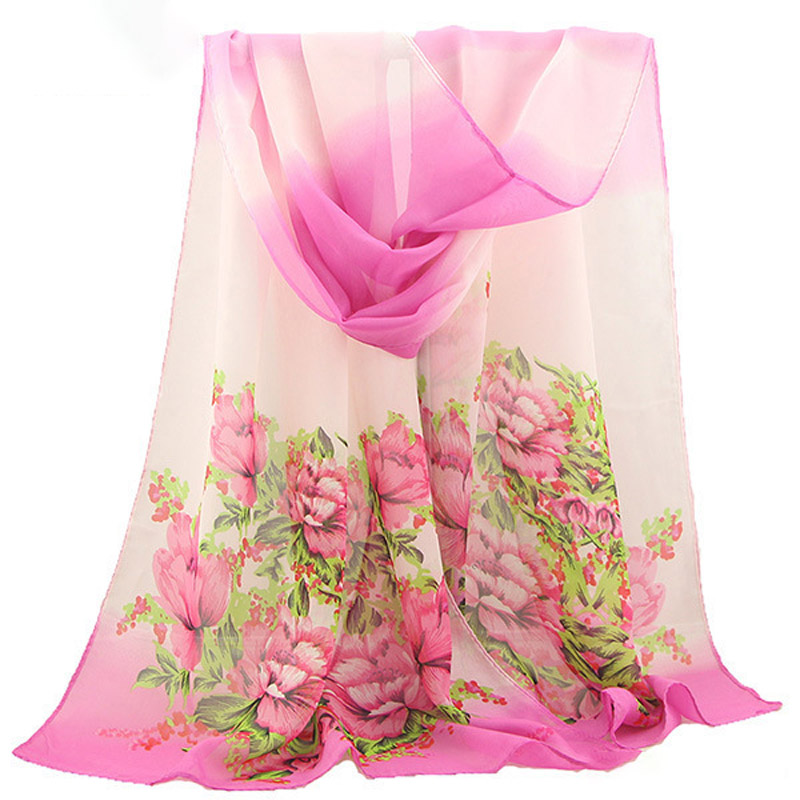 Handkerchief Woman Spring And Summer Chiffon Silk Scarf Flowers Blossom Scarf Upscale Georgette Scarves For Women Beach Towel