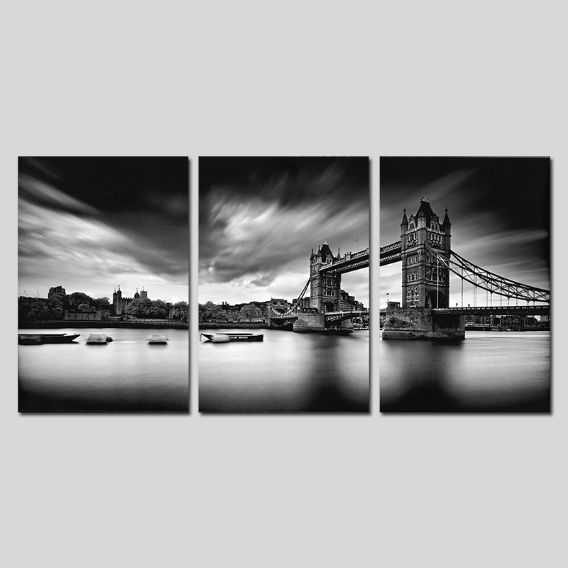 black and white cool modern city london tower bridge decoration wall art pictures canvas. Black Bedroom Furniture Sets. Home Design Ideas