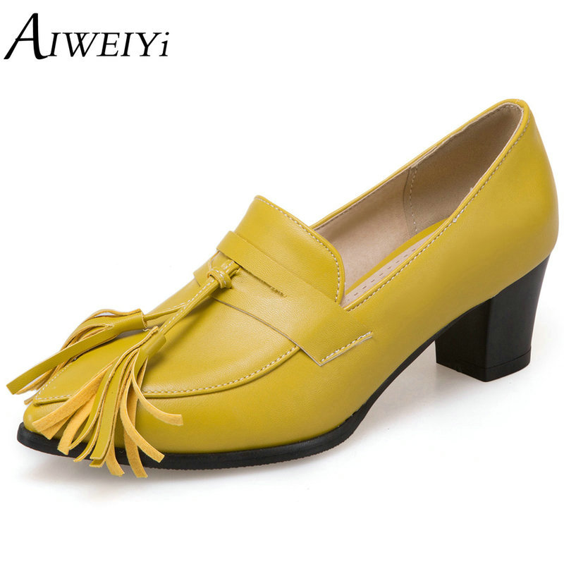 AIWEIYi 2017 Women Pumps Square Med Heel PU Leather Pointed Toe Black Elegant Tassel Slip On Ladies Wedding Shoes Size 34-43 2015 fashion women pumps high heel pointed toe shoes soft leather elegant ladies wedding shoes red black size 34 40