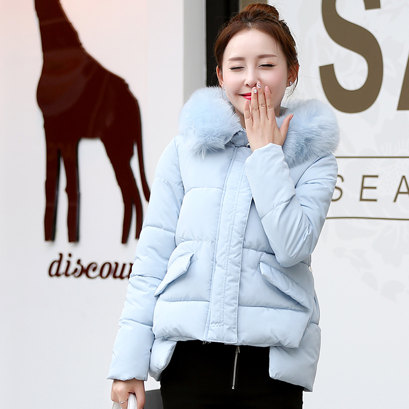 ae4048d00aa58 Women s Clothing Milk White Winter Coat Thick Girl Parka Short Outerwear  Cotton Jacket Ladies Clothing Artificial Fur Collar-in Parkas from Women s  Clothing ...
