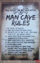 1 pc Man cave rules No trespassing Tin Plate Sign wall plaques vintage Dropshipping metal Poster