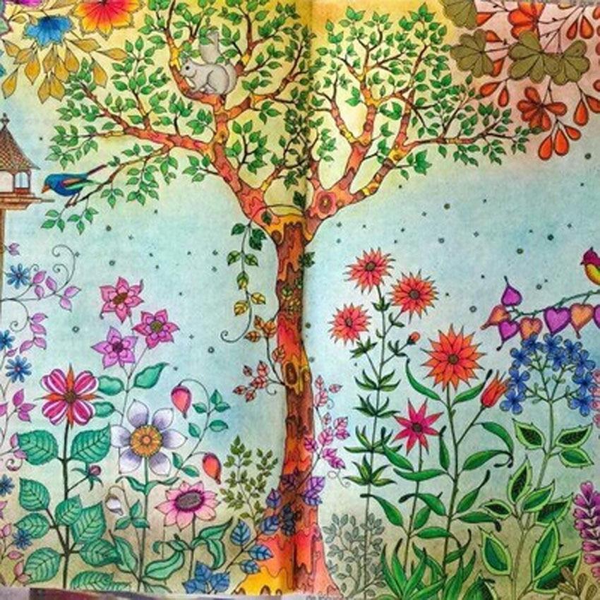12 Color Pencils 96 Pages English Secret Garden Coloring Books For