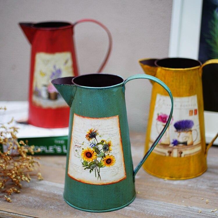 American retro metal vase Flower Organ Restaurant Garden decorative furnishings