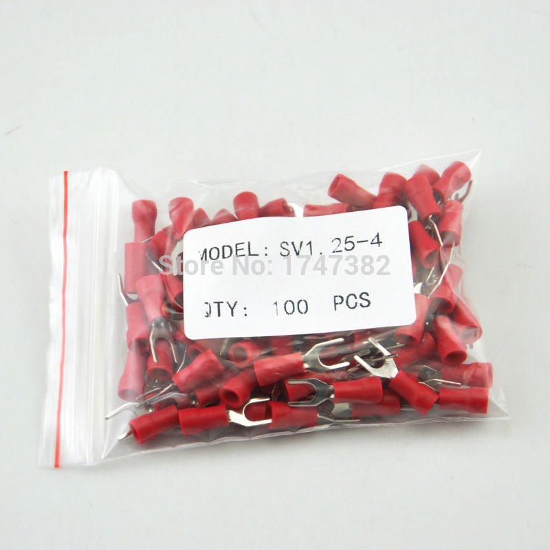 SV1.25-4 Red Furcate Terminal Cable Wire Connector Insulated Wiring Terminals electrical Lug crimp terminal 100PCS SV1-4 SV 1000pcs red insulated furcate fork terminals cable lug awg16 14 sv1 25 4