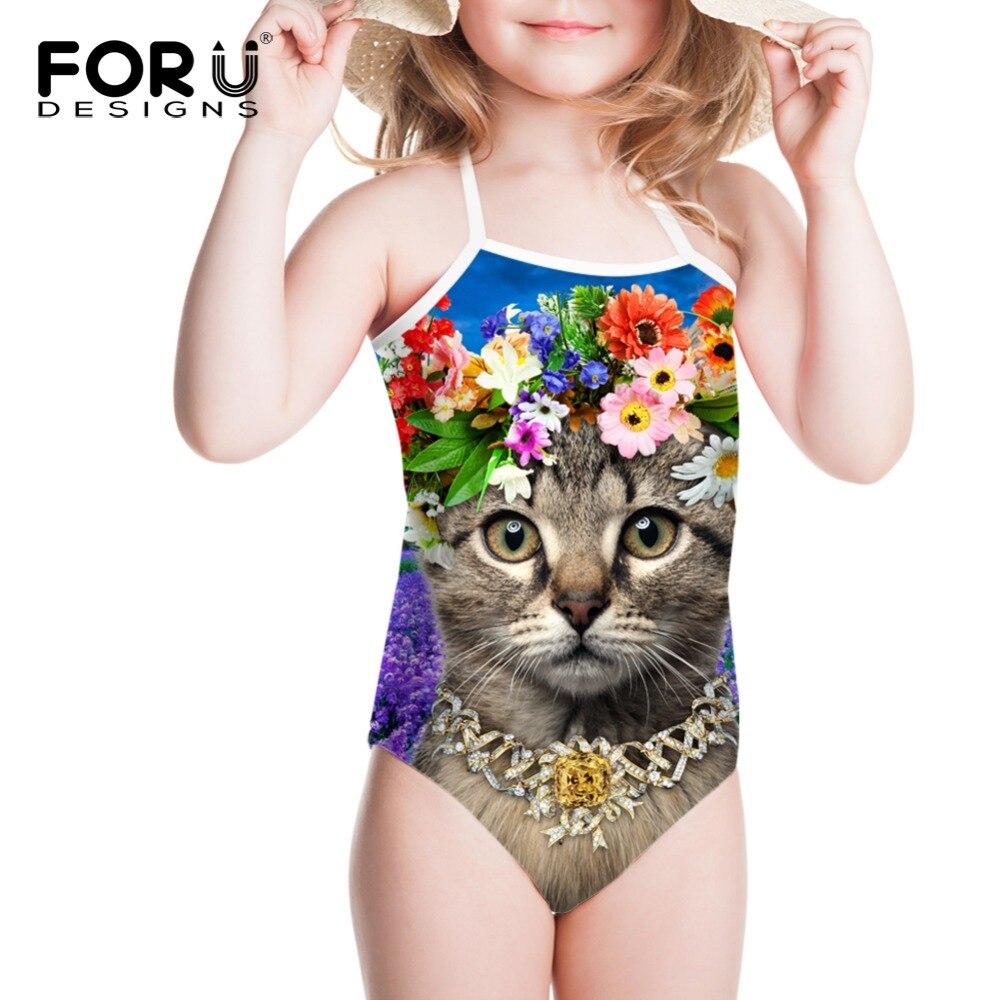 dbc9bf0ce9 Flower Cat Girls Swimwear Stripped One Piece Swimsuit Girls Kids Bathing  Toddler Girl Baby Swimsuits Cartoon
