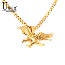 UWIN Hip Hop Eagle Flying Pendant Gold Palted Stainless Steel Trendy Gold Color Rock Punk Necklace Men Women Fashion Jewelry(China)