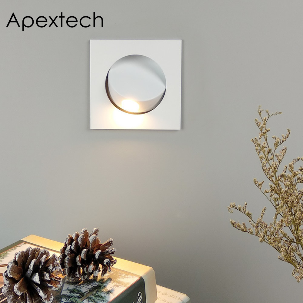 Apextech Recessed 3W CREE LED Bedside Reading Wall Lamp Modern Nordic Style Bedroom Night Lights Beam Angle Adjustable Freely