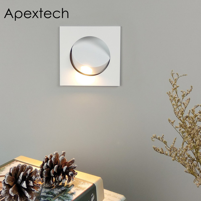 Apextech Recessed 3W 크리 어 LED 침대 옆 독서 벽 램프 현대 노르딕 스타일 침실 야간 조명 빔 각도 자유롭게 조절 가능