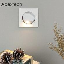 Apextech empotrado 3W CREE LED lectura de cabecera lámpara de pared Estilo nórdico moderno dormitorio luces de noche Ángulo de haz ajustable libremente