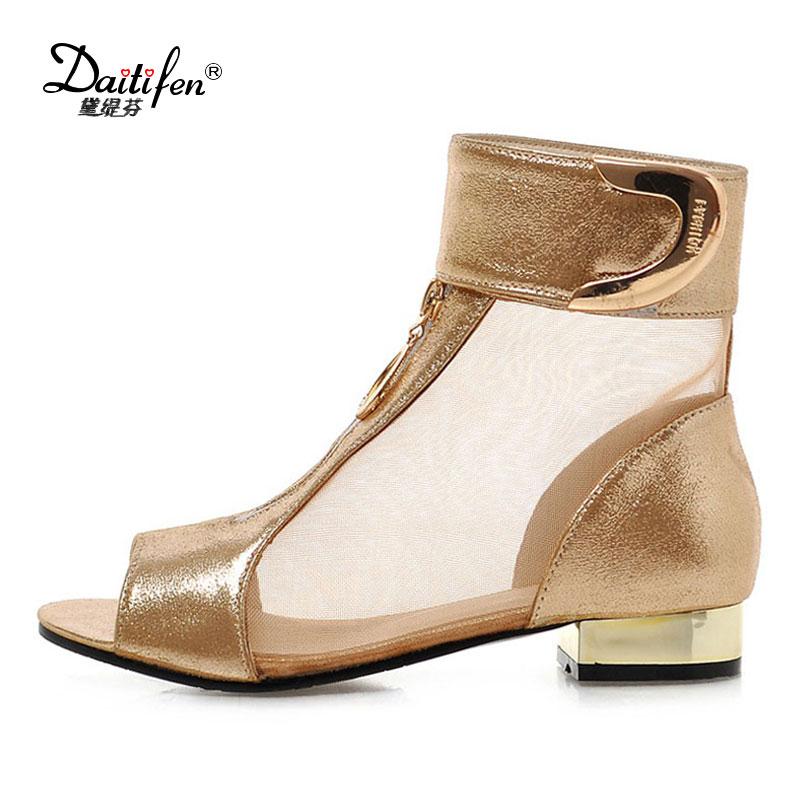 Daitifen soft PU leather Sandals women Summer Peep toe Flat Sandals Party lady Gold Zip shoes fashion Net Yarn Hook&Loop Sandale chic plaid pattern fringed multifunctional loop yarn scarf for women