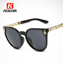 Carved Skull Cat Eye Sunglasses For Women Stylish Club Femme Sun Glasses Baroque gafas With Luxury Legs Add Box KDEAM CE